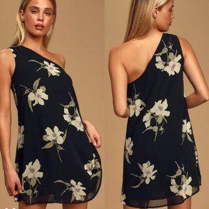 Lulu's Floral One Shoulder Swing Dress NWT XS